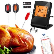 Bluetooth Meat Thermometer Wireless Barbecue Cooking with 2 Probe for Oven Grill Smoker BBQ Remote Control Digital Supports IOS and Android Phone Monitoring