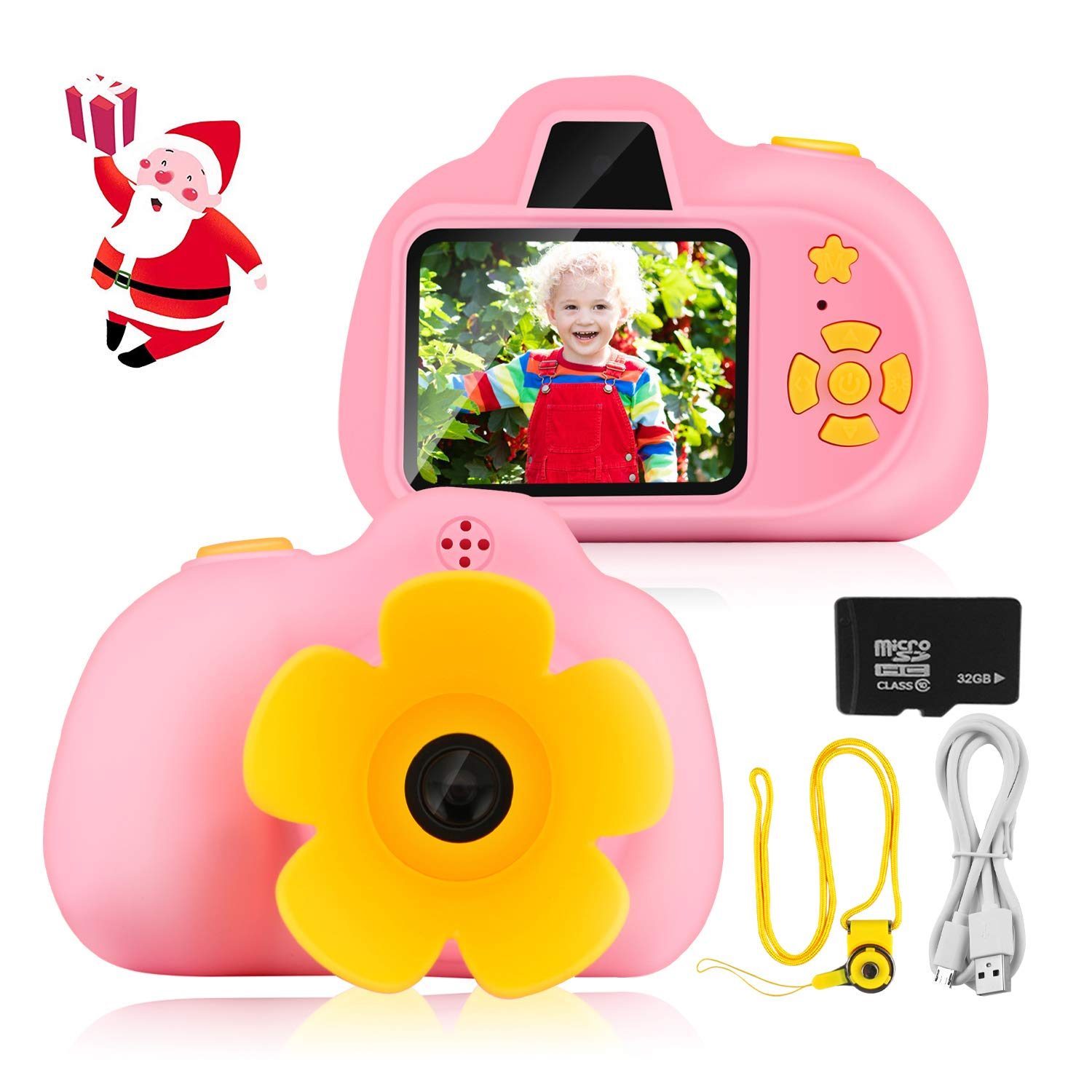 [32GB Memory Card Included] Kids Camera Gifts for 4-8 Year Old Girls, Kids Digital Mini Rechargeable Children Shockproof Digital Camcorders Kid Toys Gift for Outdoor Play, 8MP HD Camcorders (Pink)