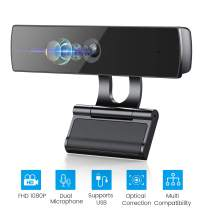 2.0MP Webcam for Microphone, Webcam USB Plug & Play with Built-in Dual Microphone, Auto Exposure, 1080P HD Webcam for Streaming and Video Conferencing