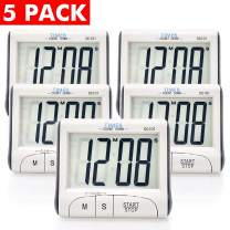 5 Pack Senbowe Digital Kitchen Timer/Cooking Timer with Large Display Screen, Loud Sounding Alarm, Strong Magnetic Backing, Retractable Stand