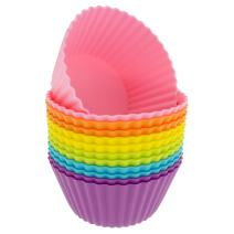 Freshware Silicone Cupcake Liners/Baking Cups - 12-Pack Jumbo Muffin Molds, 3-6/8 inch Round, Six Vibrant Colors