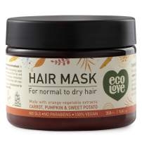 ecoLove Deep Conditioning Hair Mask for Dry Damaged Hair with Organic Carrot Pumpkin and Sweet Potato, Vegan and Cruelty Free Hair Treatment Mask, 11.8fl Oz 350ml