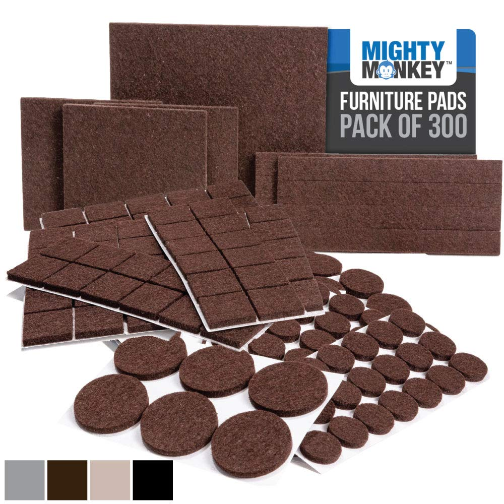 MIGHTY MONKEY Felt Furniture Gripper Pads, 300 Pack, Easy Glide, Stays on Furniture, Pad Prevents Scratches on Floors, Prescored Adhesive Strips Secure to Furniture, Heavy Duty, Protects Floor, Brown