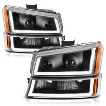 AUTOSAVER88 Projector Headlight Assembly kit Compatible with 2003 2004 2005 2006 Avalanche Silverado 1500/2500/3500,2007 Silverado Classic,Black Housing and Amber Reflector