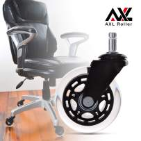 AXL Office Chair Caster Wheels Replacement PU Rollerblade Caster, with 608ZZ Roller Bearing, Desk Chair Floor Protector, No Noise, Safe for All Hardwood Floors (3 inch, Black/Clear)