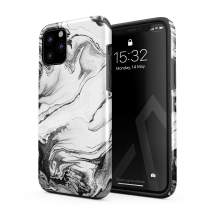 BURGA Phone Case Compatible with iPhone 11 PRO - Silver Flow Water Grey Black and White Marble Cute Case for Women Heavy Duty Shockproof Dual Layer Hard Shell + Silicone Protective Cover