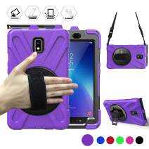Galaxy Tab Active2 8.0 Case, BRAECN Rugged Heavy Duty Protective Carrying Case Cover with Handle Hand Strap+Shoulder Strap+Pencil Holder+Kickstand for Galaxy Tab Active 2 T390/T397 2017 Release-Purple