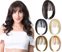 Felendy Clip in Bangs Hair Piece One Piece Thin Fringe Front Neat Air Bangs Extensions with Temple Hand Made Light Chestnut Brown