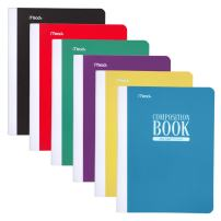 Mead Composition Book, Wide Ruled Comp Book, Writing Journal Notebook with Lined Paper, Home School Supplies for College Students & K-12, 70 Sheets, Plastic, Assorted Colors, 12 Pack (38975)