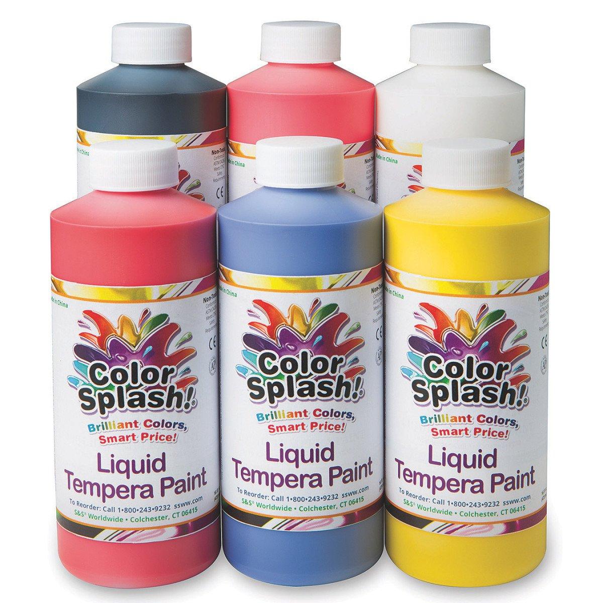 Color Splash! Liquid Tempera Paint Assortment, 16-oz. (Pack of 6)