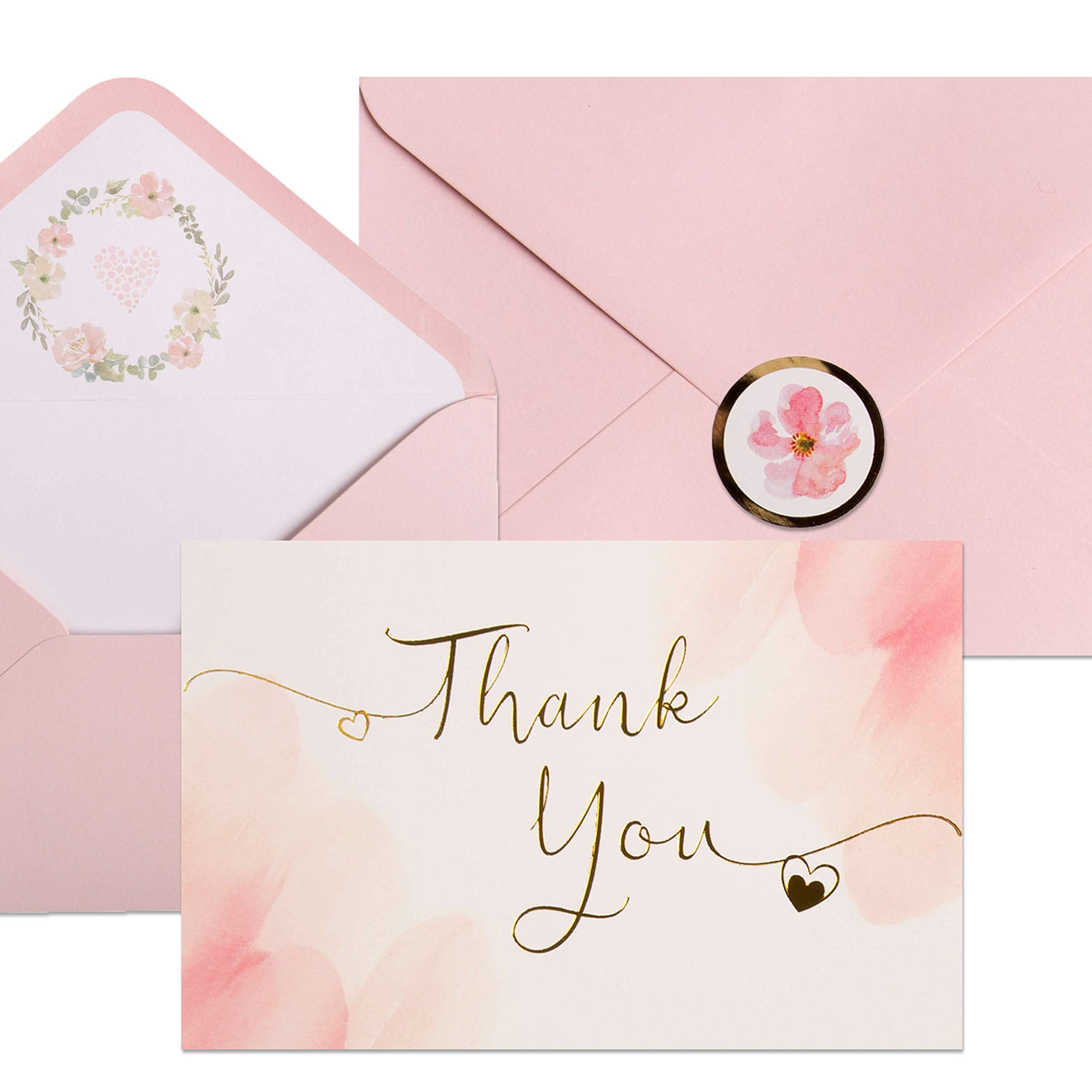 40 Blush Thank You Cards   Watercolor Pink and Gold Foil Thank You Notes Perfect for Girl's Baby Shower, Wedding & Bridal Showers   Blush Envelopes & Floral Foil Stickers Included.