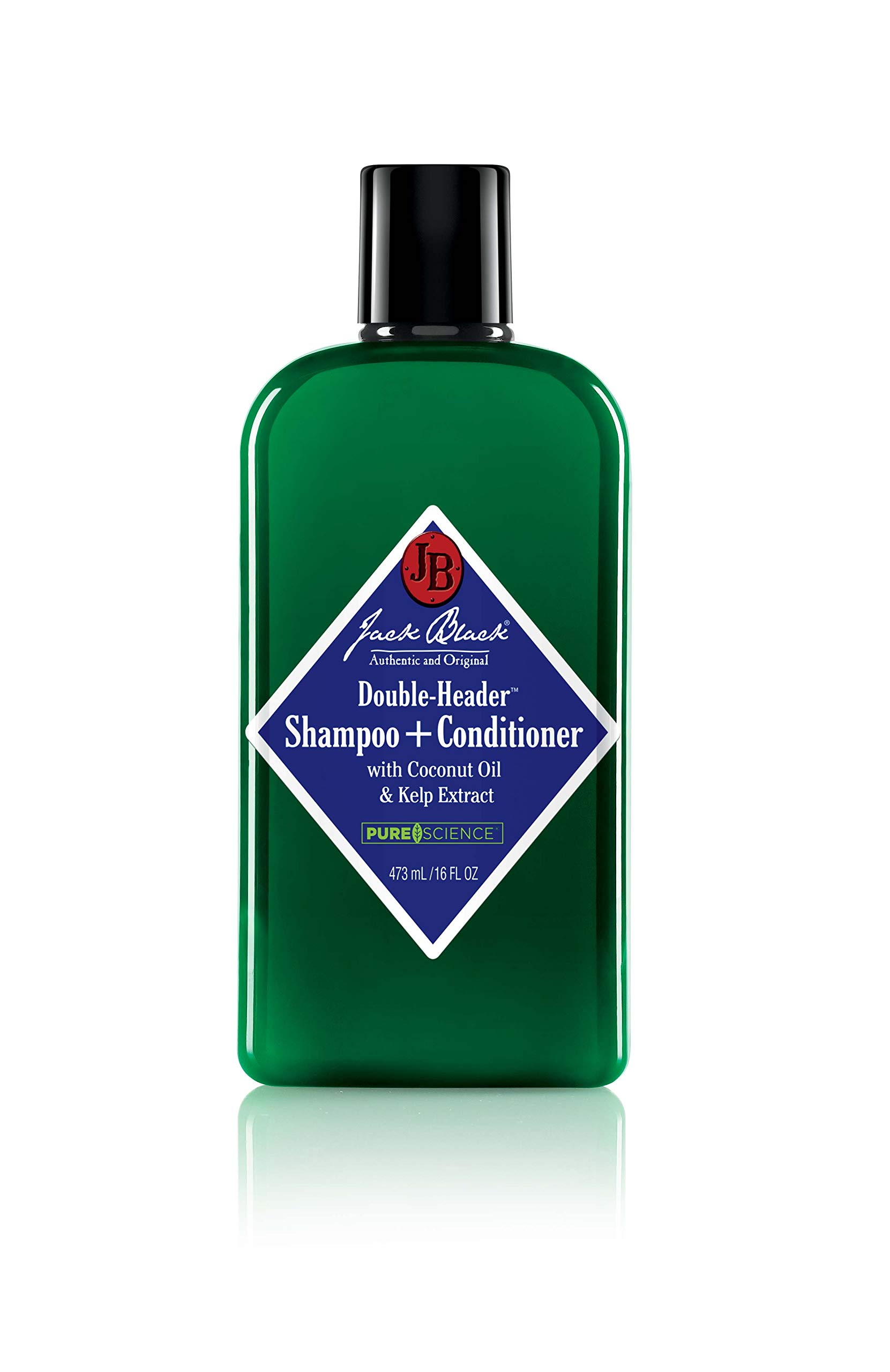 Jack Black - Double-Header Shampoo + Conditioner - PureScience Formula, Coconut Oil and Kelp Extract, Sulfate-Free, Removes Oil and Product Buildup, Lightly Conditions and Soothes, 16 Oz