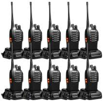 Retevis H-777 Two Way Radios Long Range Rechargeable,Hands Free Handheld UHF Flashlight Walkie Talkies, Fast Charging USB Wall Adapter,Charger Base,Battery Included (Black, 10 Pack)