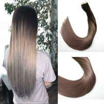 Tape in Human Hair Extensions Silky Straight Skin Weft Ombre Balayage Remy Hair Good Quality Beauty Hair Style 20 Pieces 50g Per Package(Dark Brown to Silver Gray 18inch)