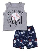 Toddler Infant Boy Funny Letter Print Clothes Set Short Sleeve Tops + Shorts Summer Outfits 6M-3Y