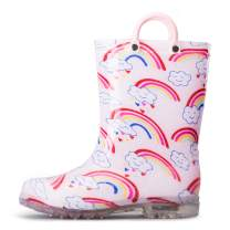 K KomForme Toddler Light Up Rain Boots Patterns and Glitter Rain Boots for Girls Boys with Handles