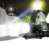 Wolf Eye P98 Professional Rechargeable Headlamp, Industrial Strength 10000 Lumen Outdoor Waterproof Headlamp for Exploration,Camping, Hiking, Running