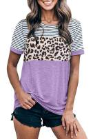 Yanekop Womens Short Sleeve Leopard Printed T Shirts Casual Color Block Striped Tunic Tops