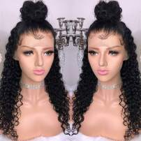 MSGEM Brazilian Hair Wigs For Black Women Deep Curly Wave Lace Front Human Hair Wig With Baby Hair 20 inch Unprocessed Virgin Hair Lace Frontal Wig 150% Density