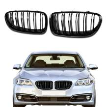 DSISIMO Gloss Black Double Slats Front Replacement Kidney Grille Grill Fit For 2010-2016 BMW 5-Series F10 F11 F18 520i 528i 530i 535i 535d 550i M5 Sedan 4-Door