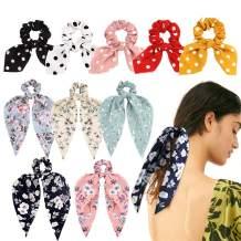 VELSCRUN 10 Pcs BowKnot Hair Scrunchies Hair Bands Elastic Hair Scarves Floral Hair Ties 2 in 1 Vintage Ponytail Holder Hair Accessories for Women
