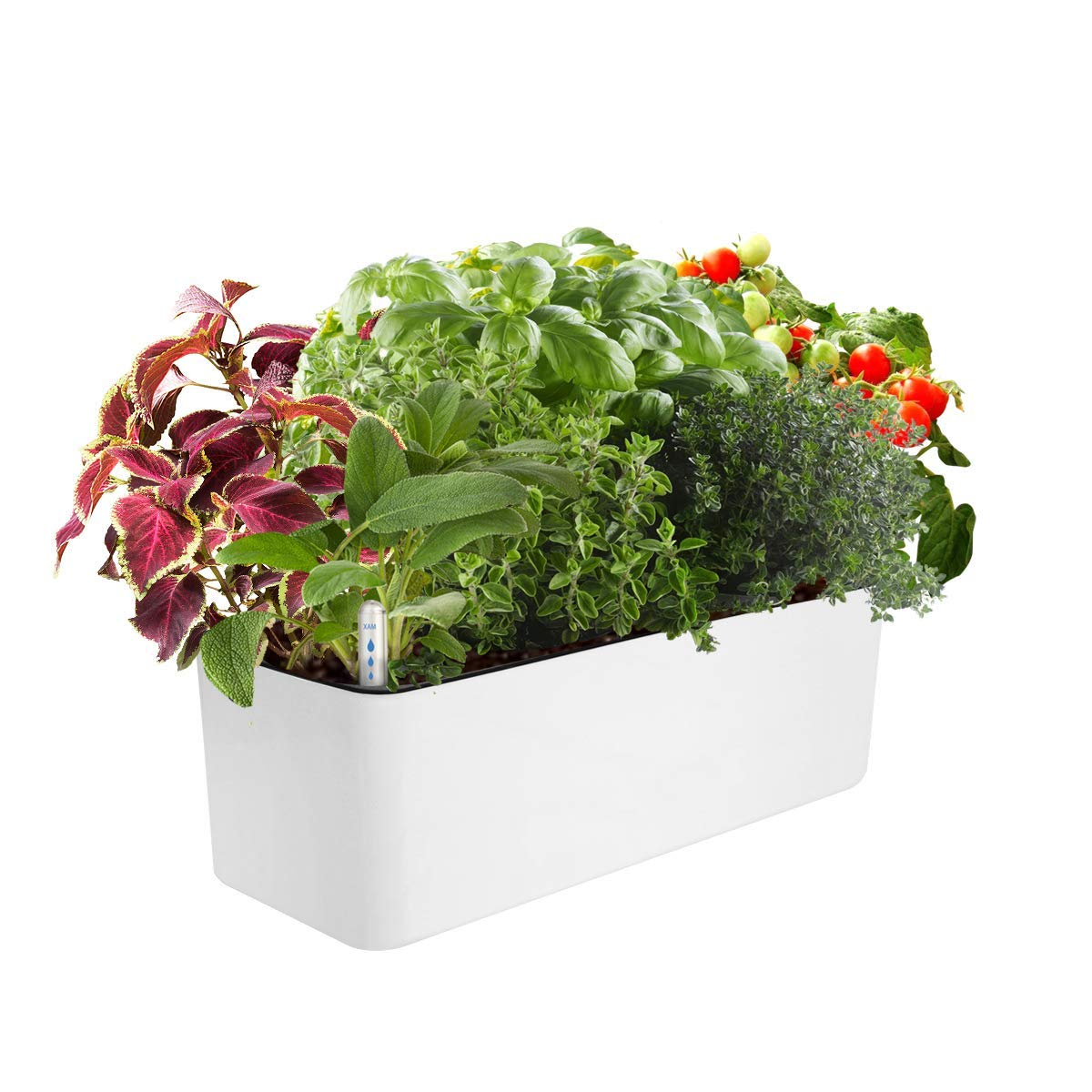 J&C Self Watering Planter, Window Gardening Box, 16x 5.5 Inch, Indoor Home Garden, Modern Decorative Planter Pot for All Indoor Plants, Rectangle, White (Plants Not Included)