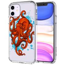 MOSNOVO iPhone 11 Case, Octopus Pattern Printed Clear Design Transparent Plastic Hard Back Case with TPU Bumper Protective Case Cover for iPhone 11