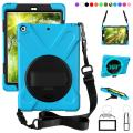 ZenRich New iPad 9.7 2017 2018 Case,360 Degree Rotatable with Kickstand,Hand Strap and Shoulder Strap case, 3 Layer Hybrid Heavy Duty Shockproof case for iPad 9.7 5th/6th Generation (SkyBlue)