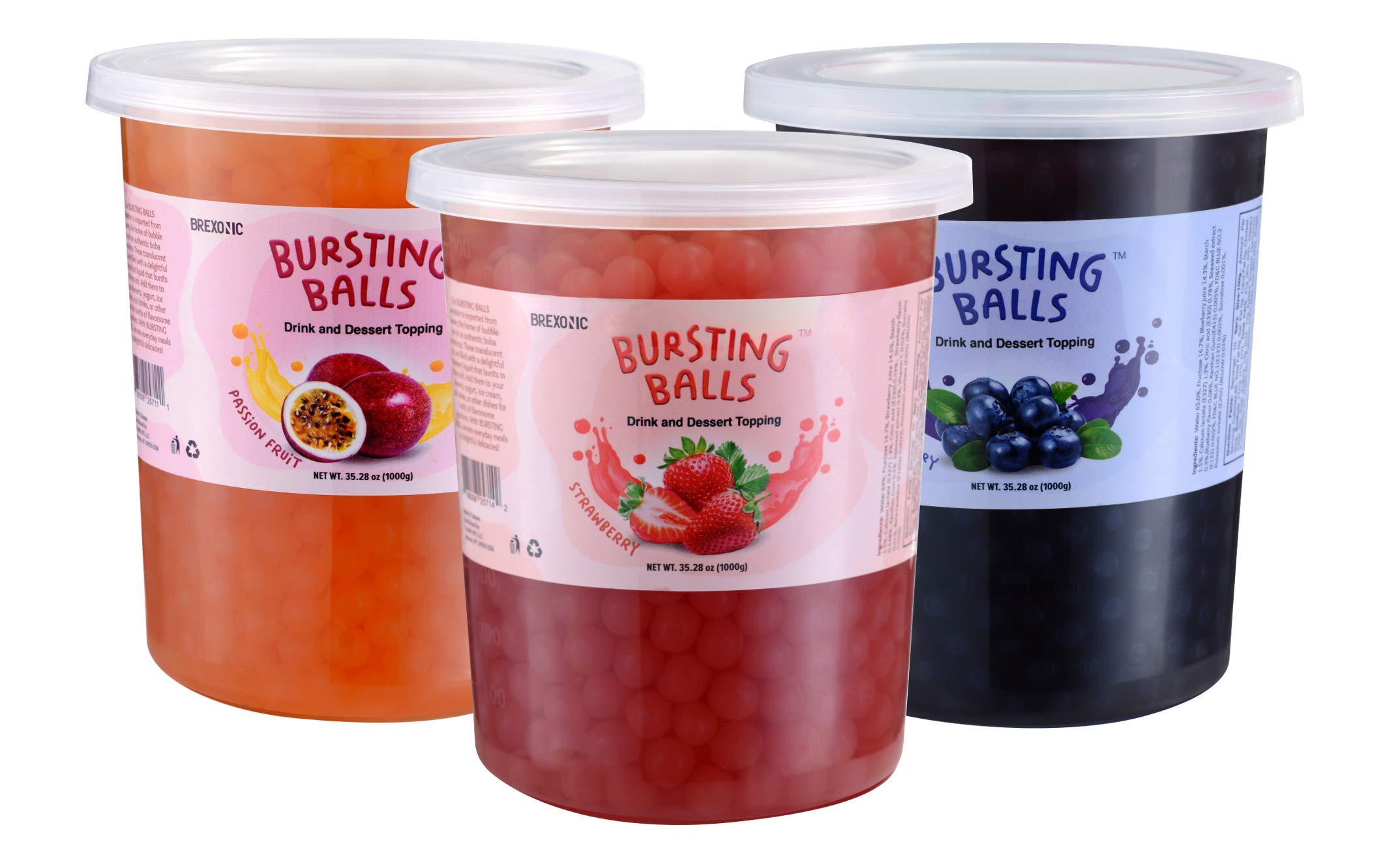 Popping Boba Pearls Bursting Tea Balls Drink & Dessert Topping Strawberry Mango Blueberry Passion Fruit Flavored Bubble Tea Pearls (Strawberry, Passion Fruit, Blueberry, 2 LB 3 Pack)