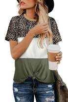 MEROKEETY Women's Leopard Print Tops Crew Neck Short Sleeve Color Block Twist Knot T Shirts