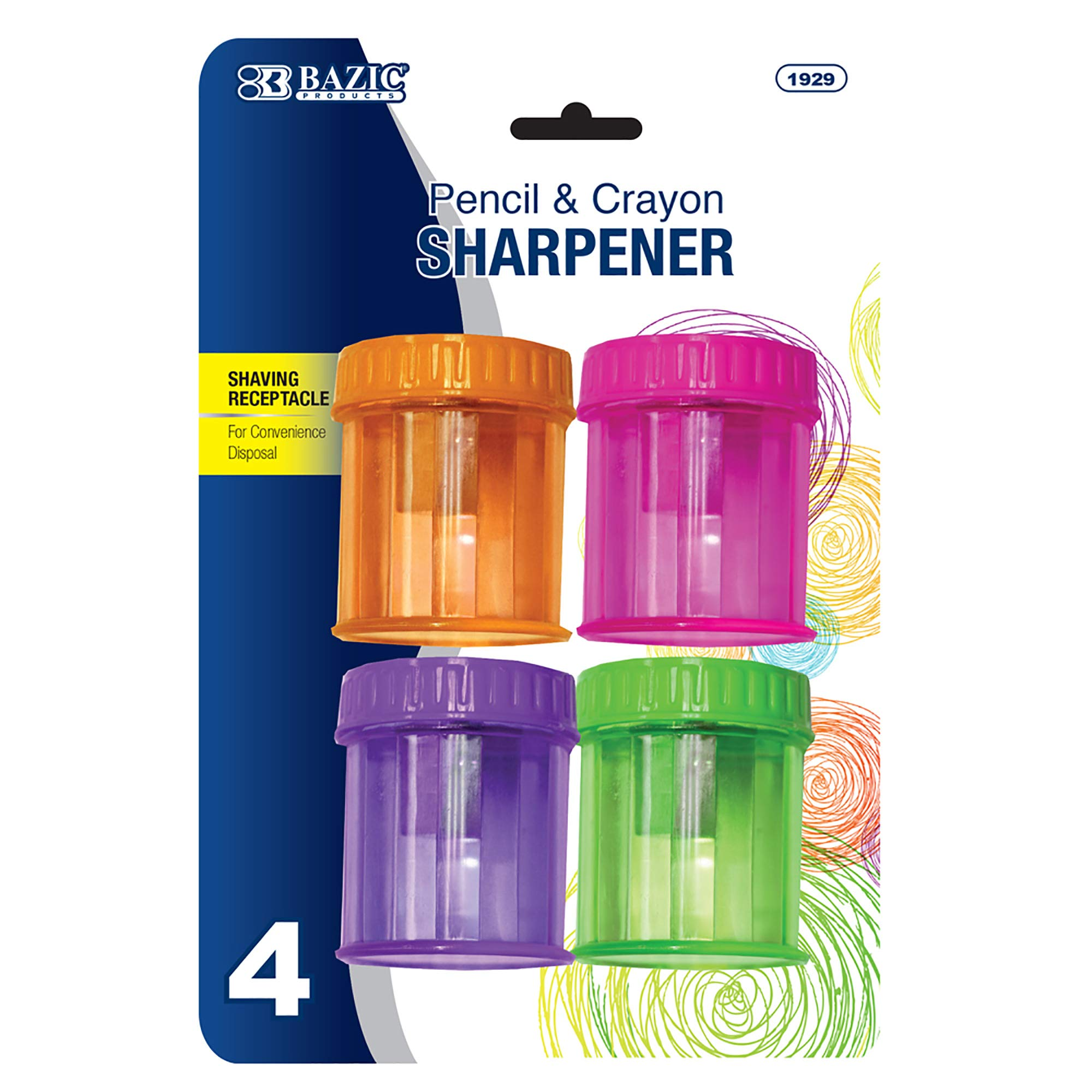 BAZIC Single Hole Blade Pencil Sharpener, Standard Pencil Crayon w/Receptacle, Home Office School Artist Students (4/Pack)