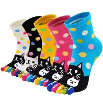 Womens Toe Sock Cotton Five Finger Running Ankle Novelty Socks