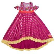 TwirlyGirl Fantastic Girls Dress Sparkly Pink Flowers Trendy Cut Out Shoulder