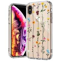 MOSNOVO iPhone Xs Max Case, Clear iPhone Xs Max Case, Wildflower Floral Flower Pattern Printed Clear Design Transparent Plastic Back Case with TPU Bumper Case Cover for iPhone Xs Max