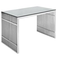 Modway Gridiron Stainless Steel Office Desk in Silver