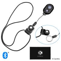 CamKix Camera Shutter Remote Control with Bluetooth Wireless Technology - Black - Lanyard with Detachable Ring Mount - Capture Pictures/Video Wirelessly at 30 ft Compatible with iPhone/Android