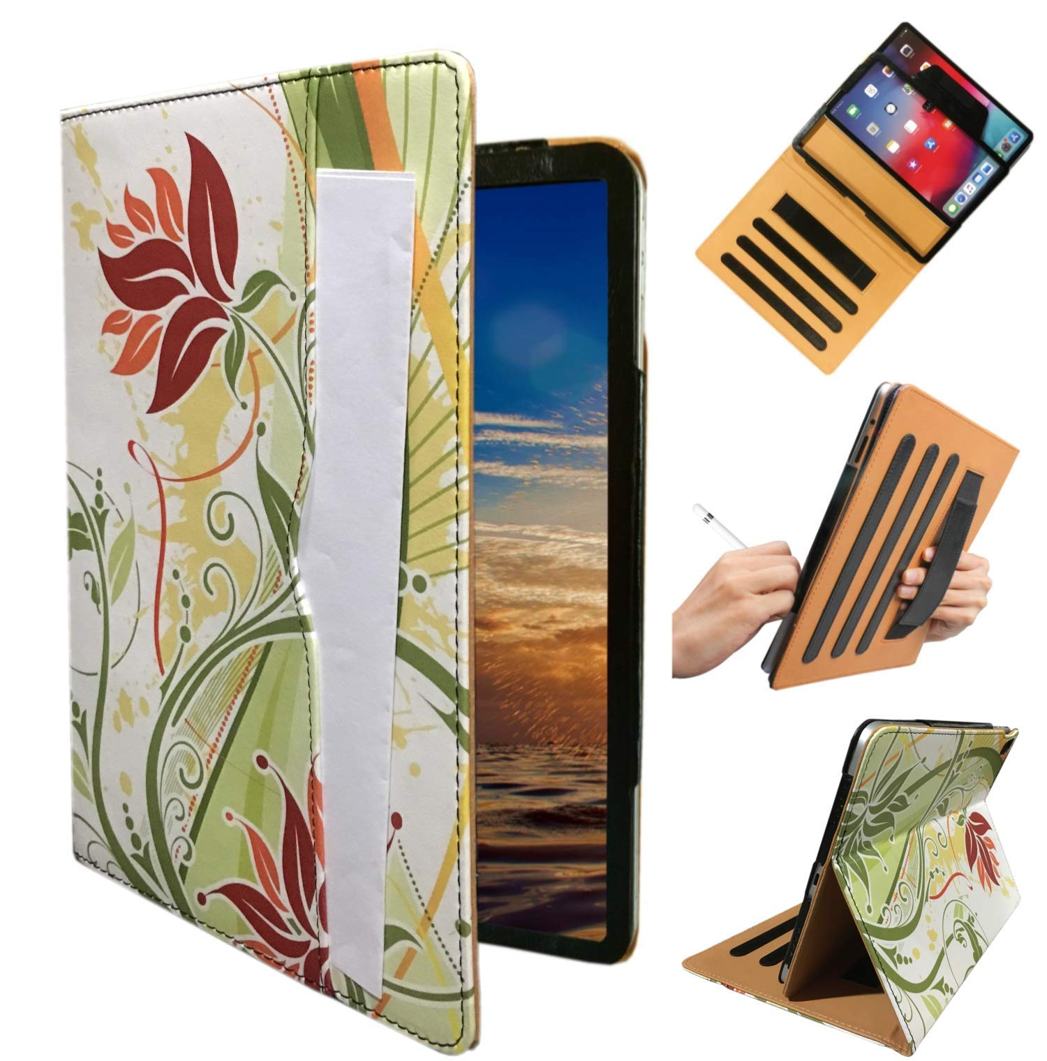 """ipad Hand Strap Case Cover for iPad 9.7"""" 5th 6th Generation 2018 2017 Air 1st 2nd Md788ll/A MRJN2LL/A MR7F2LL/A MRJP2LL/A A1474 A1893 A1954 A1822 A1823 with Sleep/Wake (Green Flower)"""