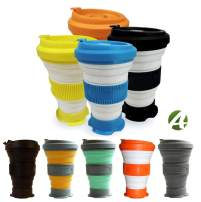 AvaLeisure 16oz Collapsible Travel Cup - Big, Foldable Silicone Mug with Leak-proof Lid for Coffee, Water, Tea - Portable Camping, Hiking Mugs, set of 2, col. blue + orange
