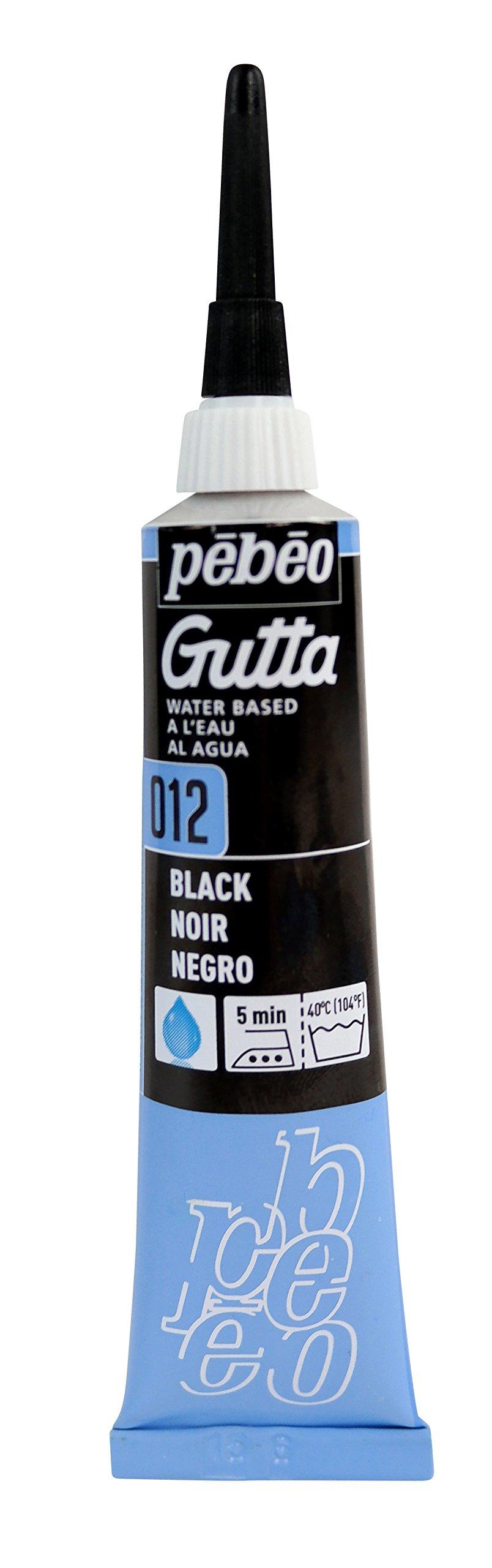 PEBEO Setasilk Silk Painting Water Based Gutta 20-Milliliter Tube, Black