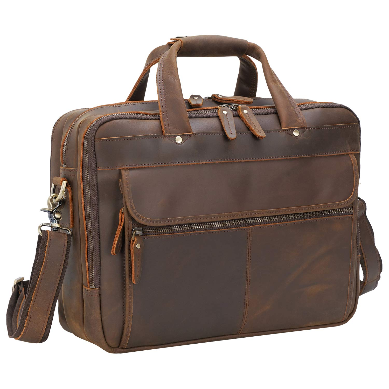 "Polare Modern Attaché Style 15.7"" Full Grain Italian Leather Laptop Business Briefcase for Men"