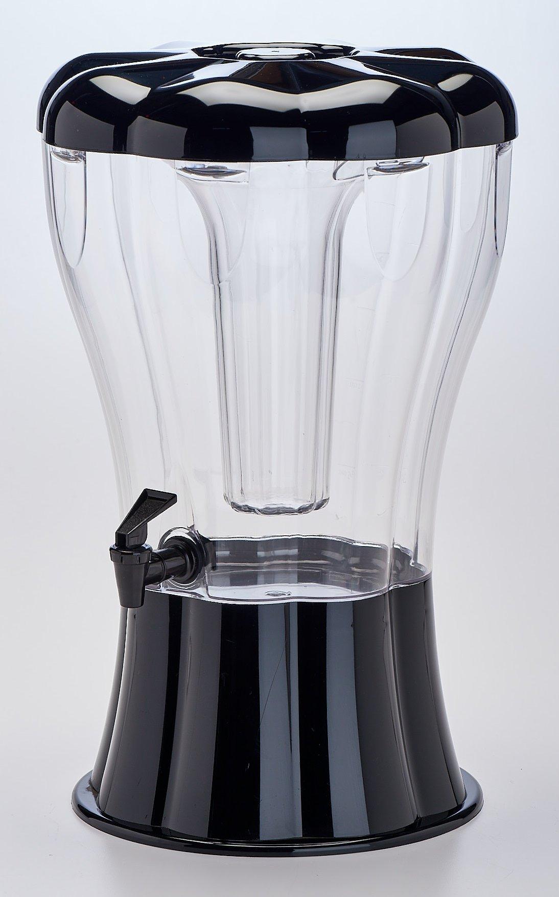 Buddeez NEW w 3.5 Gallon Break Resistant Beverage Dispenser with Ice Cone-Sleek Black