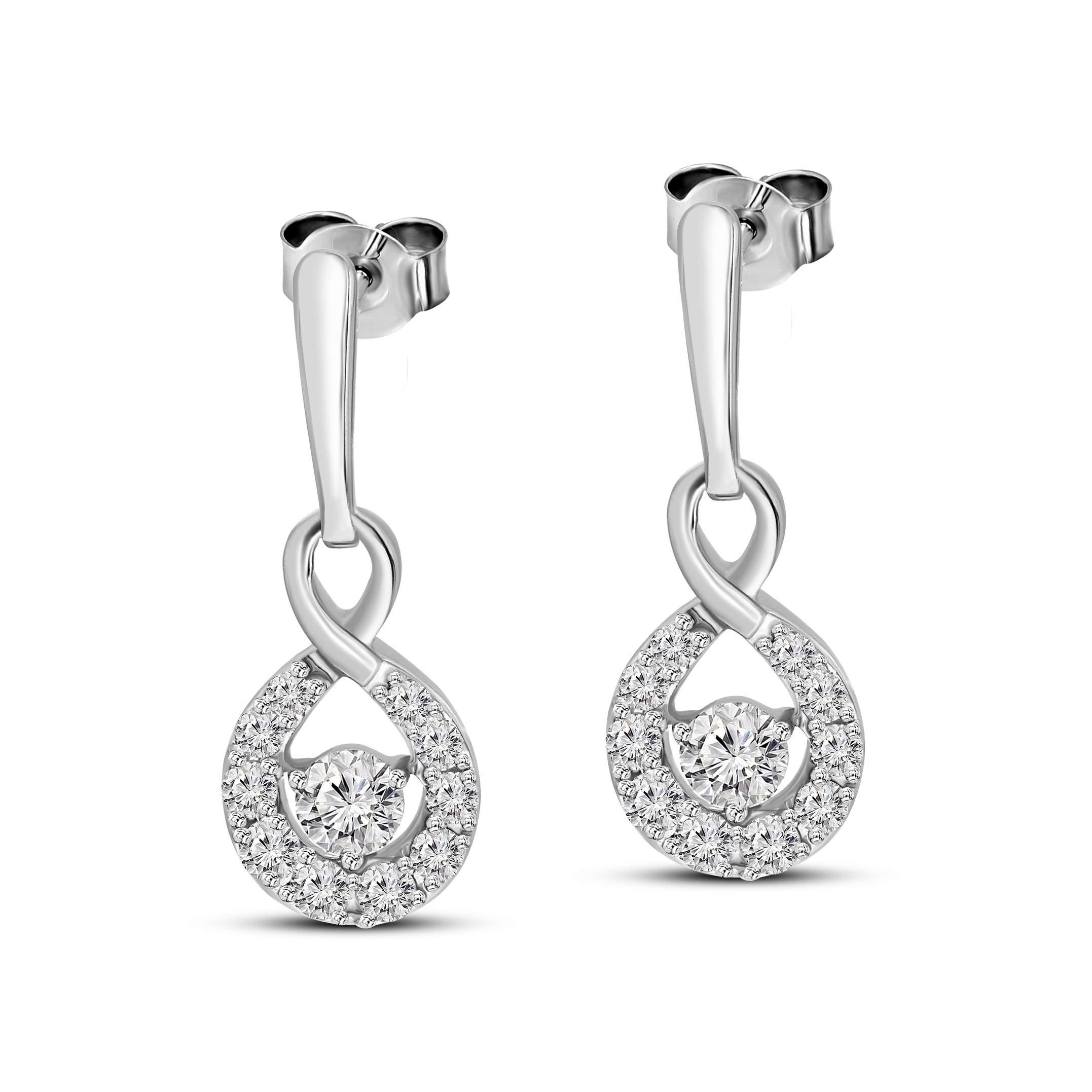 Natural Diamond Earrings 1 Carat Dangling Diamond Earrings For Women 14K White Gold Real Diamond Earrings Diamond Jewelry Gifts For Women