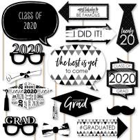 Big Dot of Happiness Black and White Grad - Best is Yet to Come - Black and White 2020 Graduation Party Photo Booth Props Kit - 20 Count
