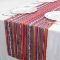 """GFCC Pack of 3 14""""x108"""" Mexican Blanket Hand-Woven Cotton Table Runner for Party Wedding and Home Decorations"""
