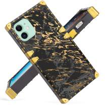 Fiyart iPhone 11 6.1 Inch Case 2019 Release Luxury Black Marble Square Soft TPU and Hard PC Back Stylish Retro Cover