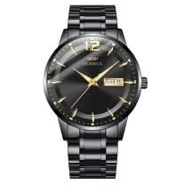 OLMECA Men's Casual Simple Dress Watch Unique Analog Quartz Watches Stainless Steel Band Calendar Week Date Display Watch Waterproof Wrist Watch Black Color 879
