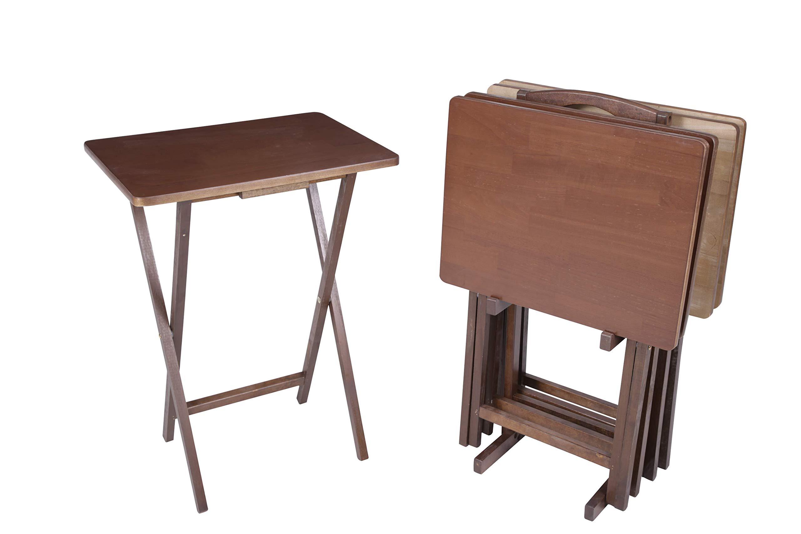 PJ Wood 5-piece Folding TV Tray & Snack Table -Dark Mango