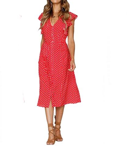 Mansy Women's Casual V-Neck Button Down Vintage Midi Dress with Flouncing Sleeve and Polka Dot Print Red