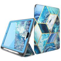 "i-Blason Cosmo Case for iPad Air 3 Case 10.5"" 2019 (3rd Gen) / iPad Pro 10.5 Case 2017, [Built-in Screen Protector] Trifold Stand Protective Case Cover with Pencil Holder and Auto Sleep/Wake, Blue"
