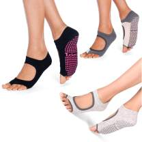 3 Pack Yoga Pilates Socks for Women Non Slip, Toeless Non Skid Sticky Grip Sock - Pilates, Barre, Ballet